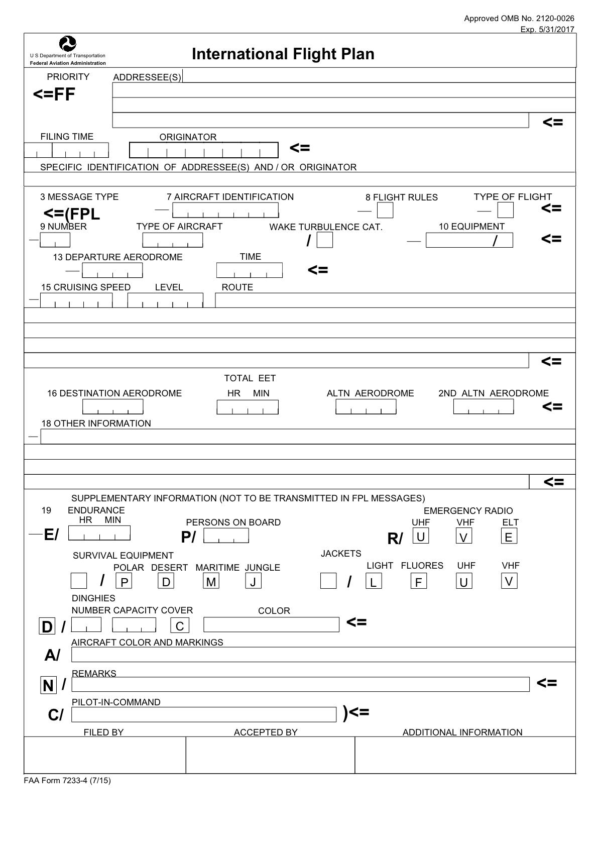 CFI BRIEF ICAO FLIGHT PLAN FORM #489751300369 – Aviation ...